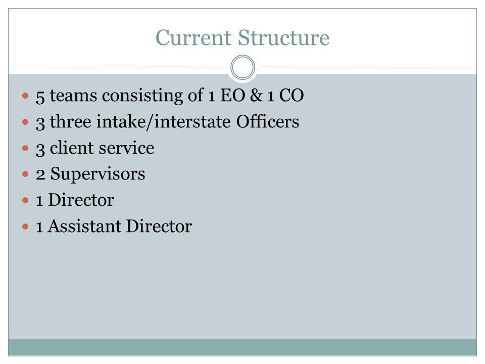 Current Structure 5 teams consisting of 1 EO & 1 CO