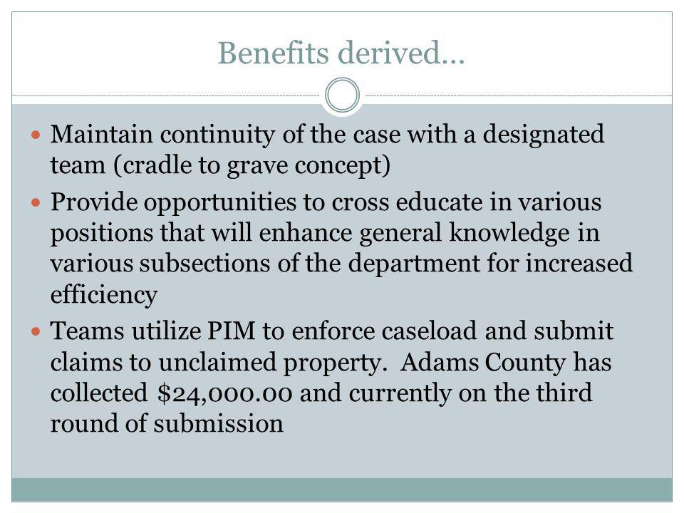 Benefits derived… Maintain continuity of the case with a designated team (cradle to grave concept)