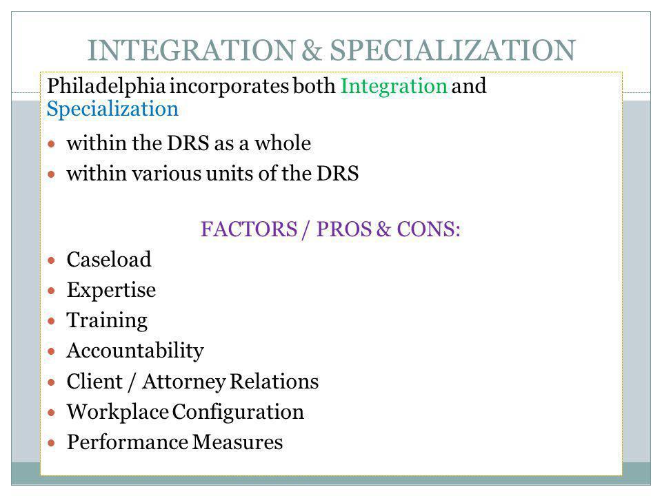 INTEGRATION & SPECIALIZATION