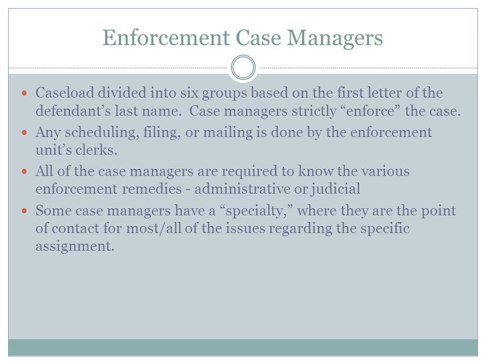 Enforcement Case Managers