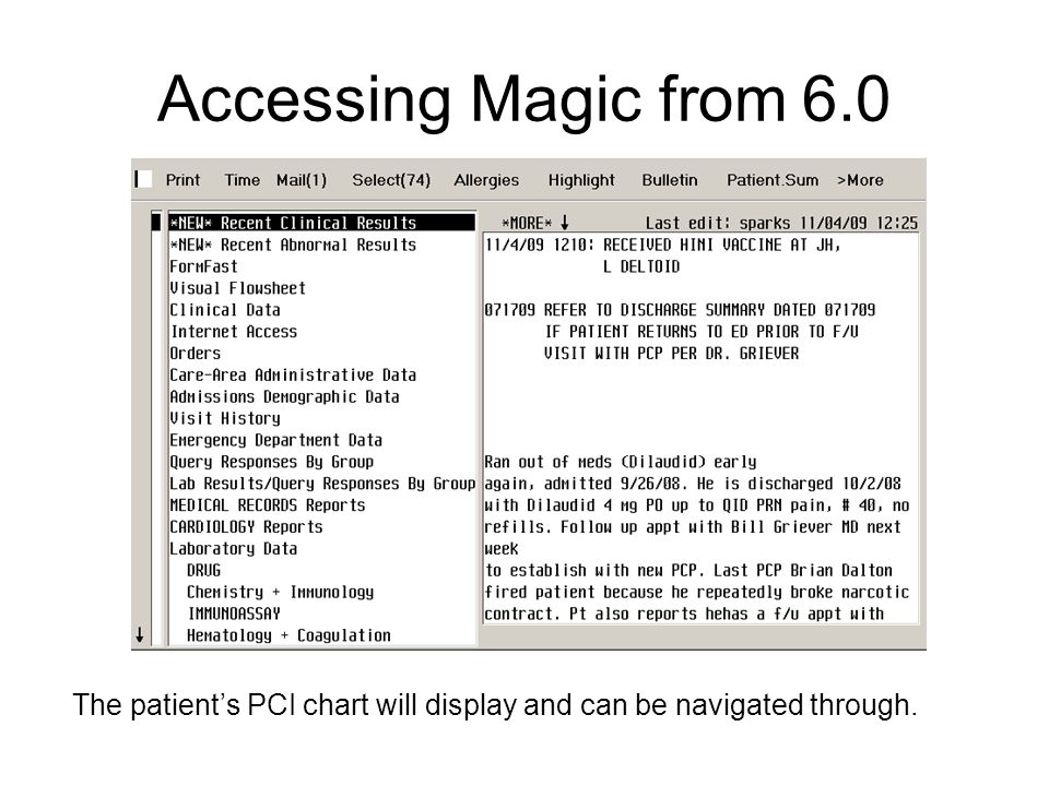 Accessing Magic from 6.0 The patient's PCI chart will display and can be navigated through.