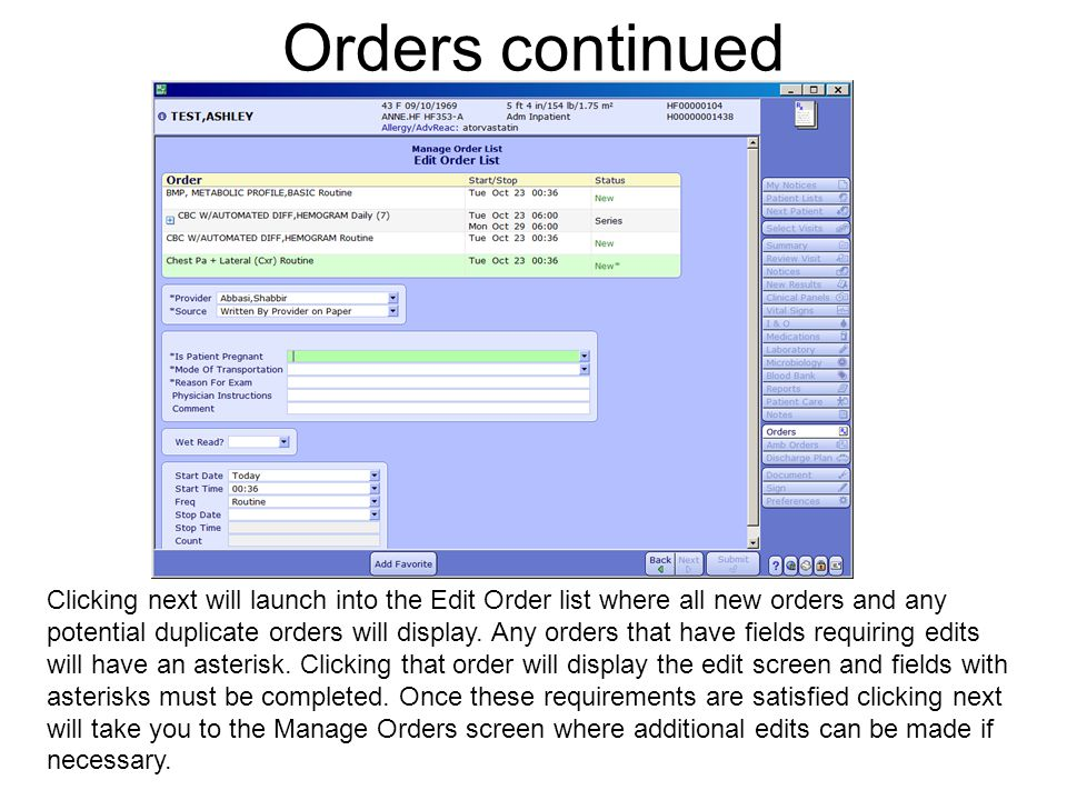 Orders continued