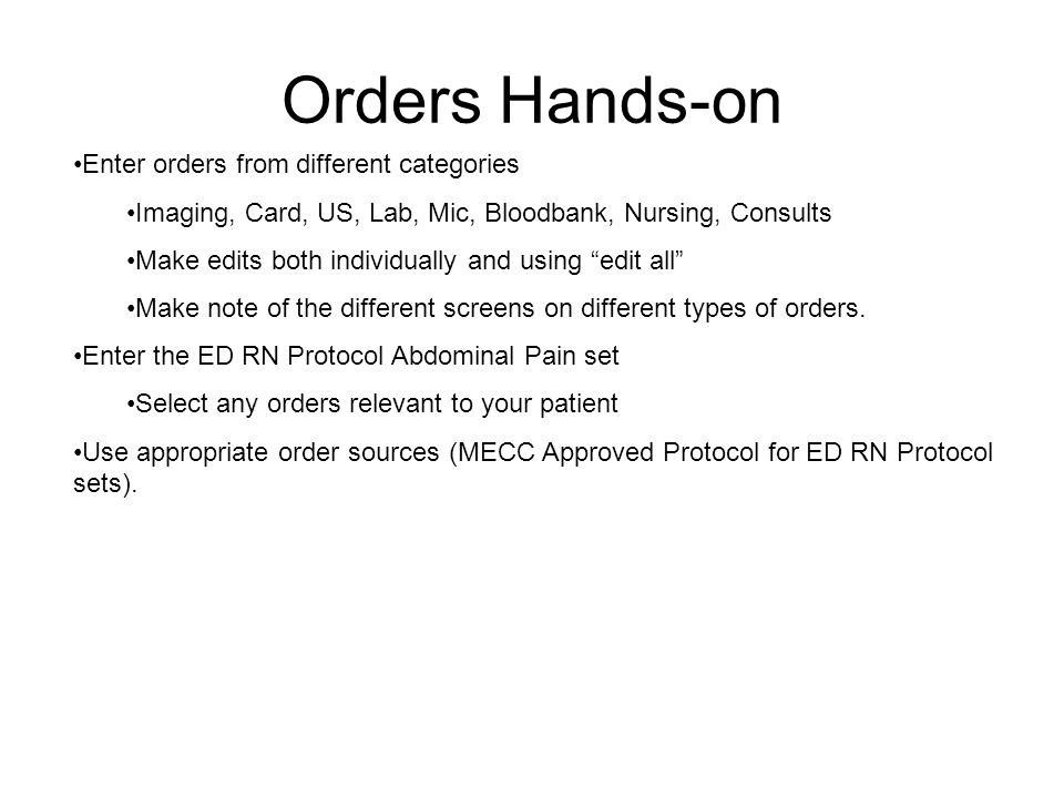 Orders Hands-on Enter orders from different categories
