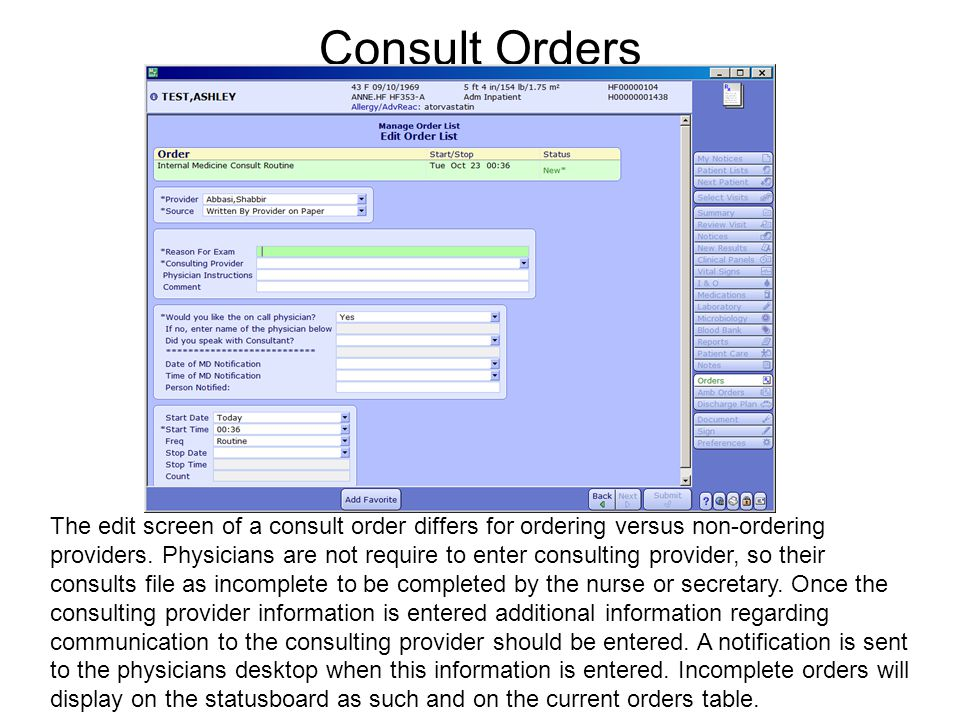 Consult Orders