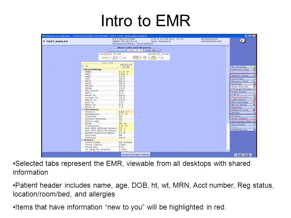 Intro to EMR Selected tabs represent the EMR, viewable from all desktops with shared information.
