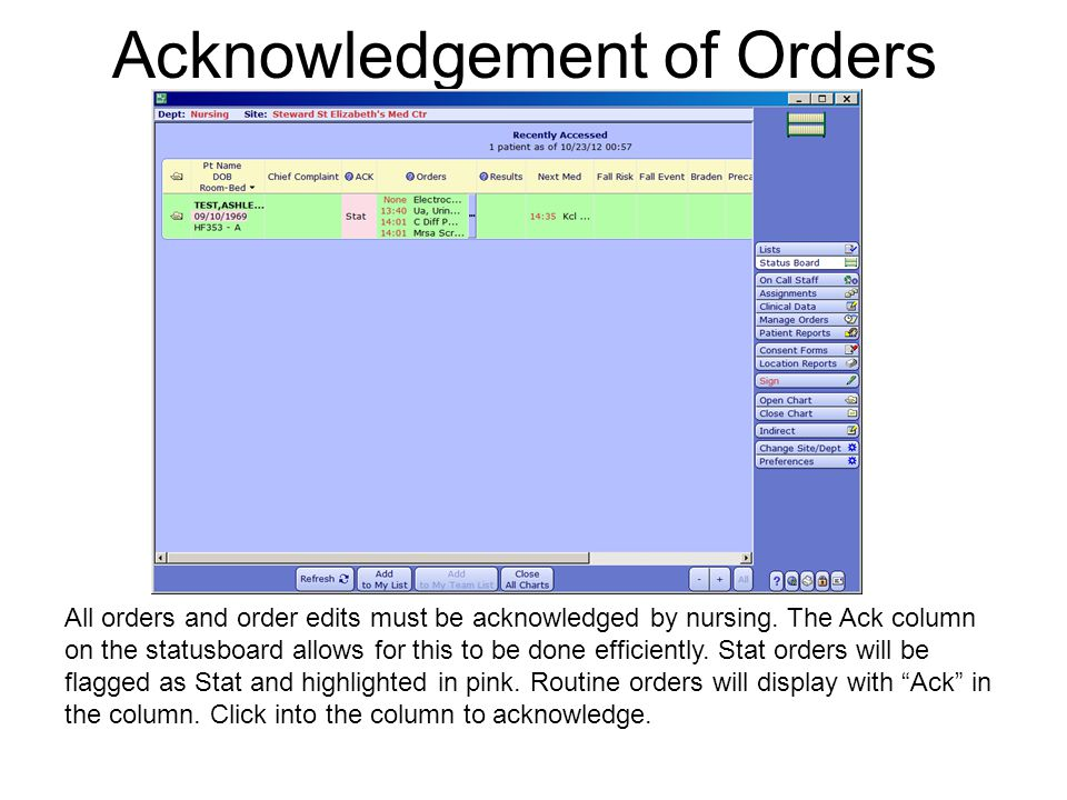 Acknowledgement of Orders