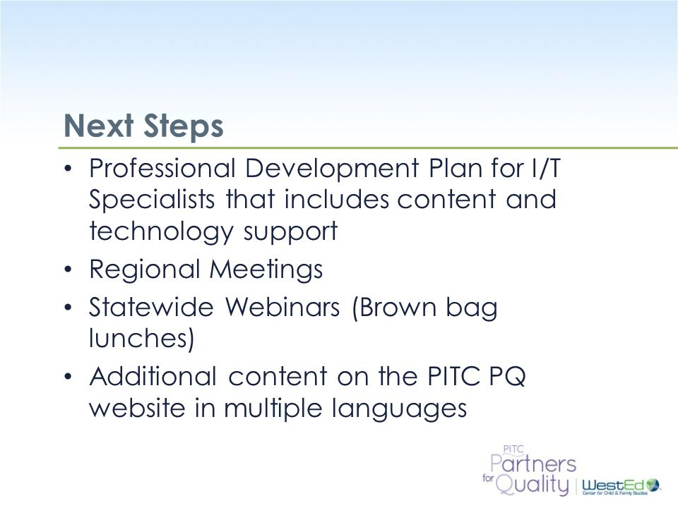 Next Steps Professional Development Plan for I/T Specialists that includes content and technology support.