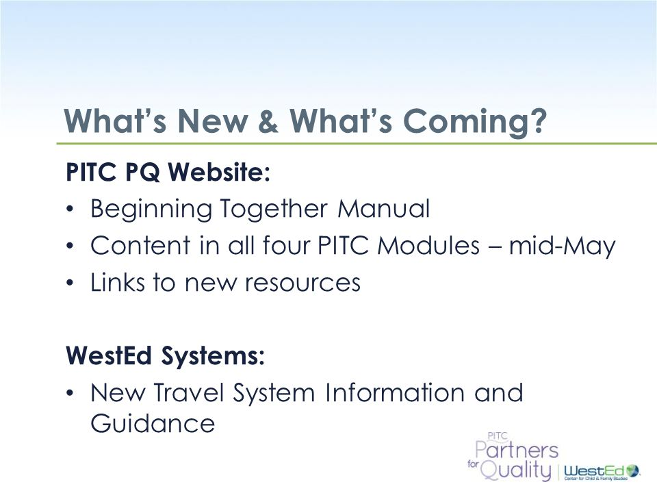 What's New & What's Coming