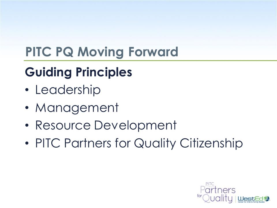 PITC PQ Moving Forward Guiding Principles Leadership Management