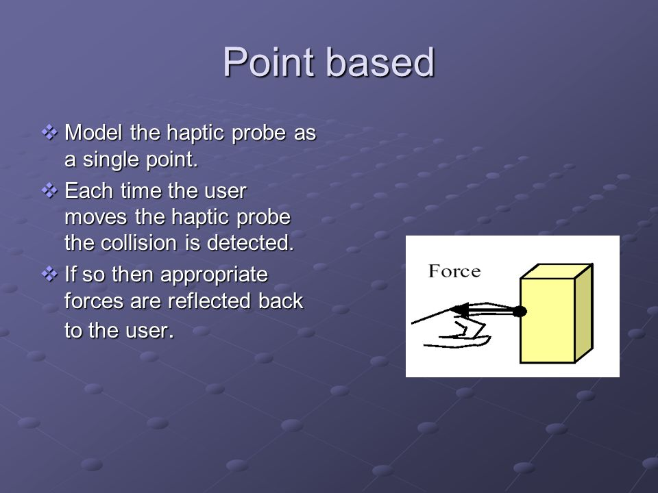 Point based Model the haptic probe as a single point.