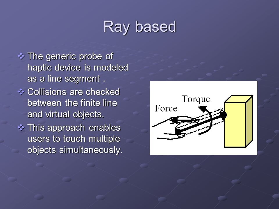 Ray based The generic probe of haptic device is modeled as a line segment . Collisions are checked between the finite line and virtual objects.