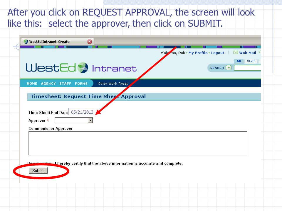 After you click on REQUEST APPROVAL, the screen will look like this: select the approver, then click on SUBMIT.