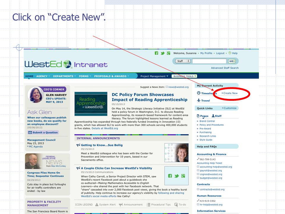 Click on Create New .