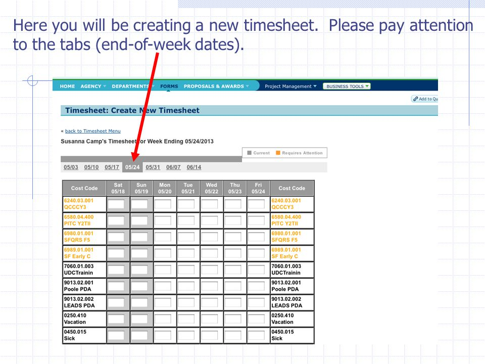 Here you will be creating a new timesheet