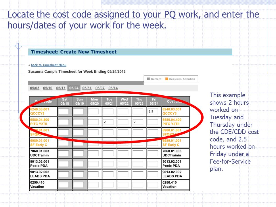 Locate the cost code assigned to your PQ work, and enter the hours/dates of your work for the week.