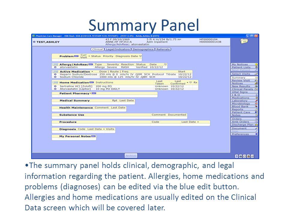 Summary Panel