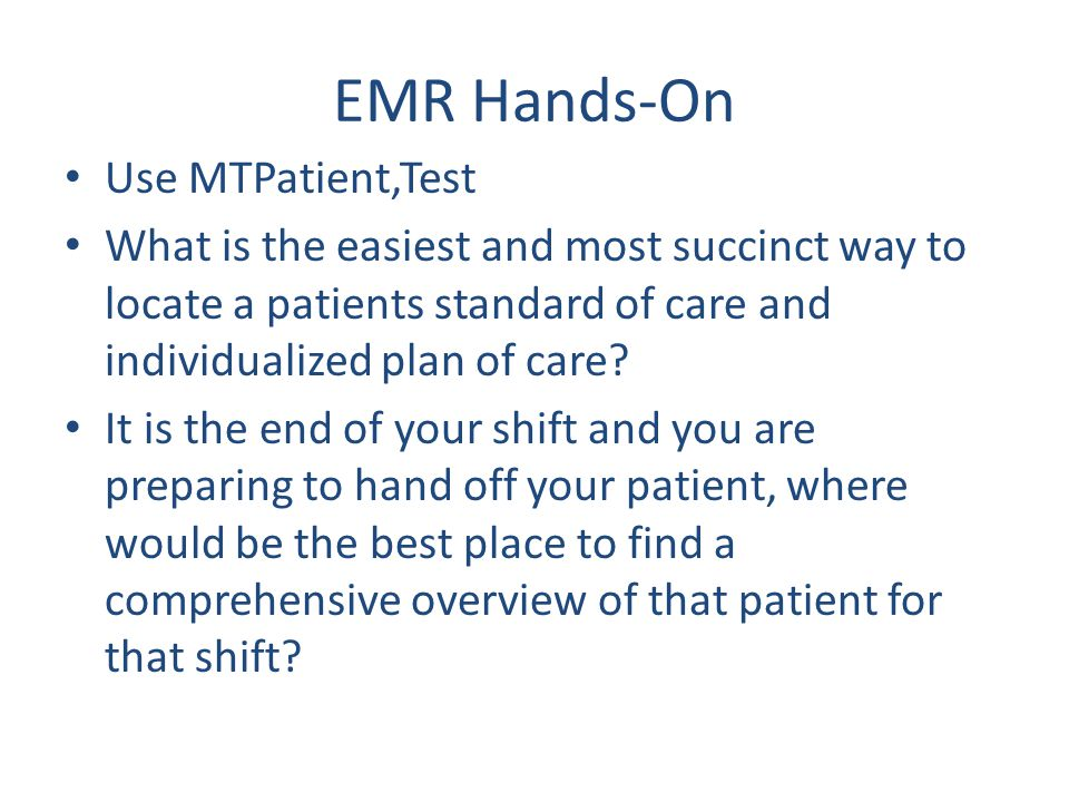 EMR Hands-On Use MTPatient,Test