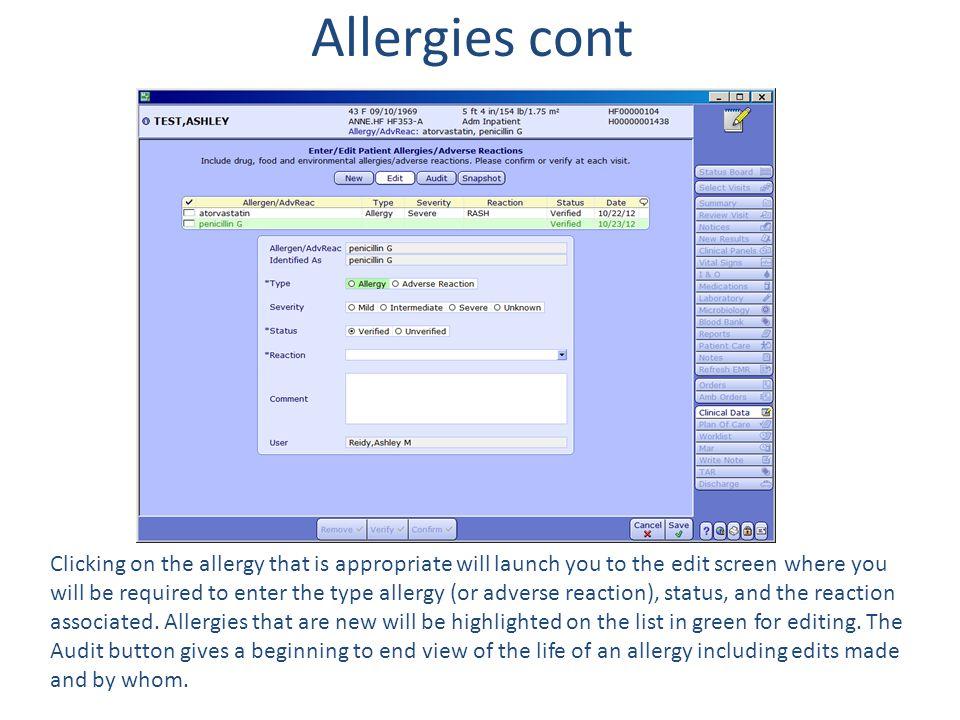 Allergies cont