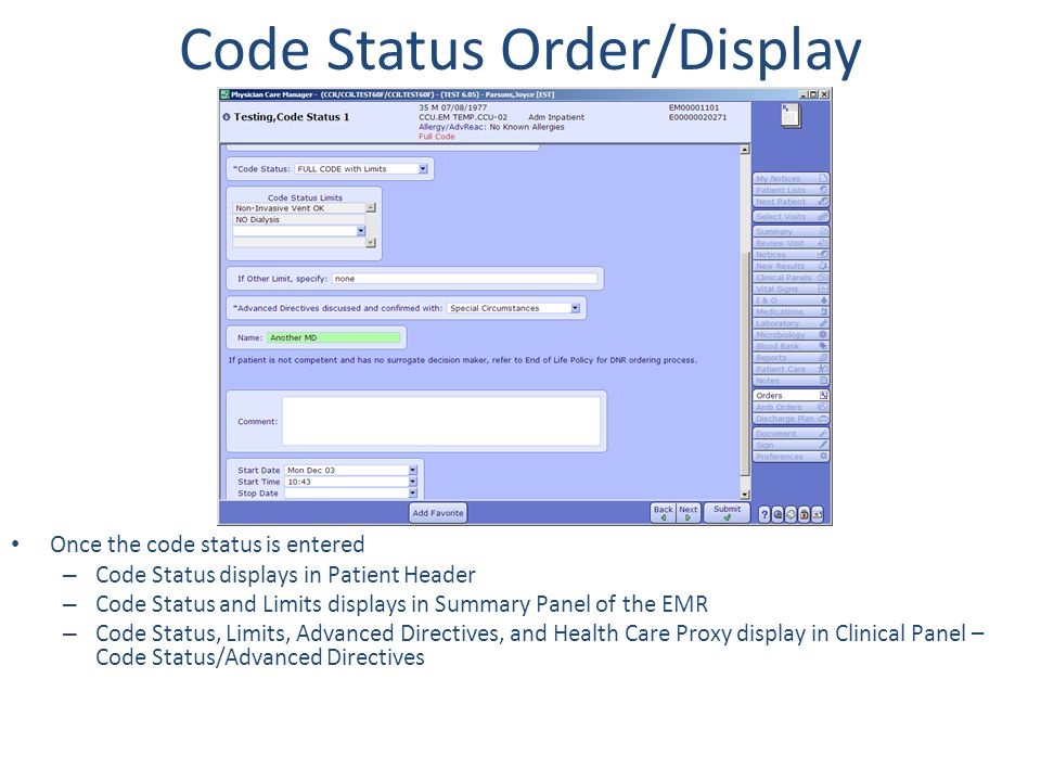 Code Status Order/Display