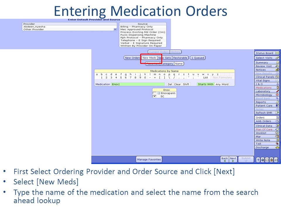 Entering Medication Orders