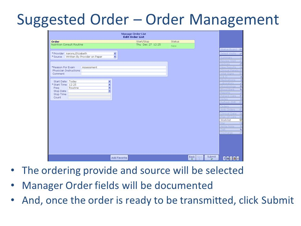 Suggested Order – Order Management