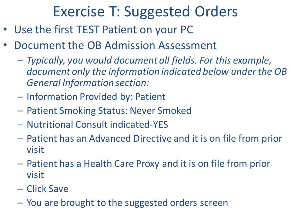 Exercise T: Suggested Orders