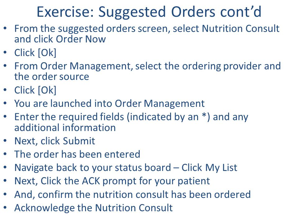 Exercise: Suggested Orders cont'd