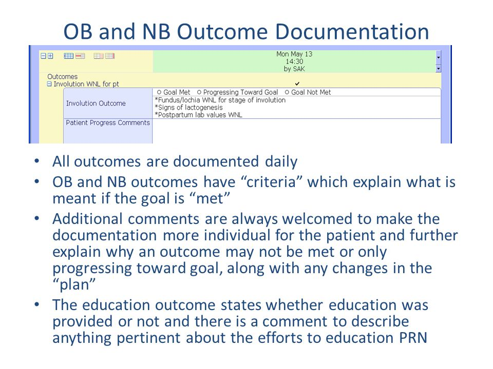 OB and NB Outcome Documentation