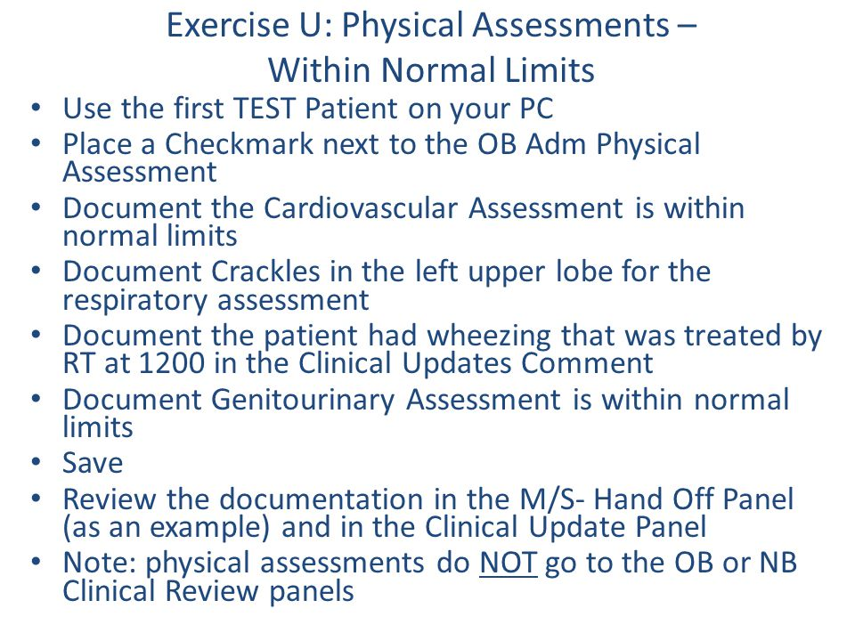 Exercise U: Physical Assessments – Within Normal Limits