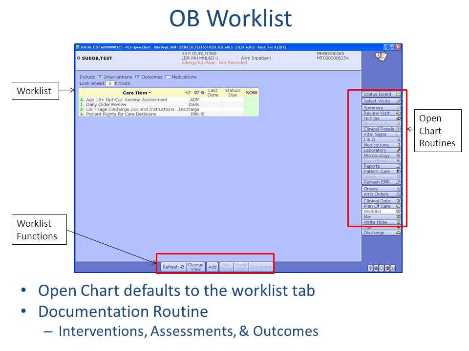 OB Worklist Open Chart defaults to the worklist tab