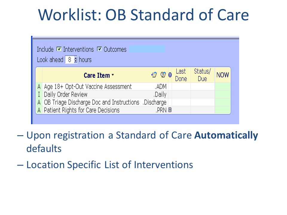 Worklist: OB Standard of Care