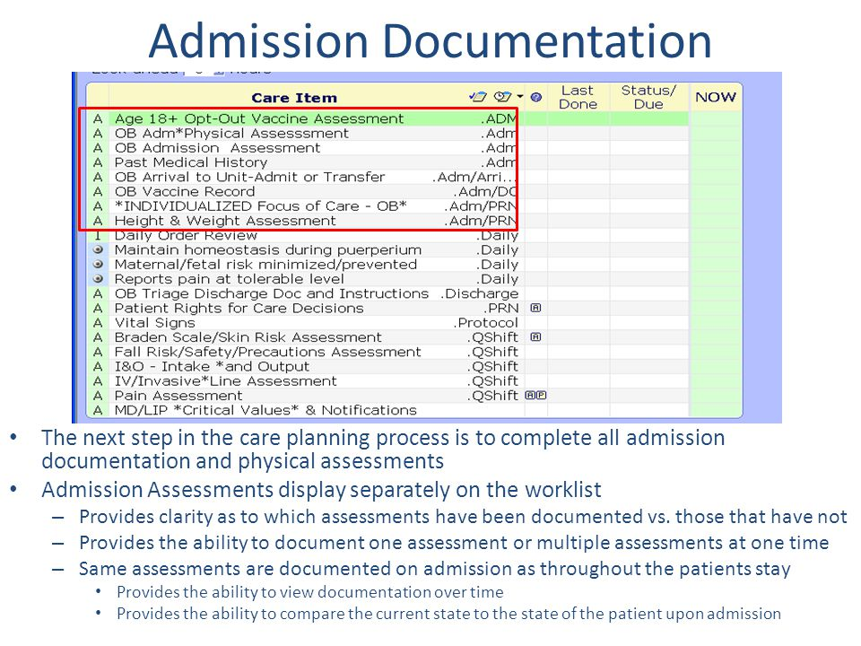 Admission Documentation