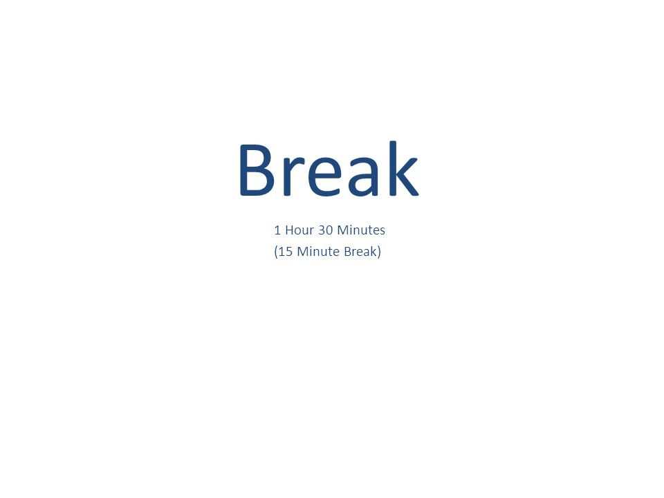 Break 1 Hour 30 Minutes (15 Minute Break)