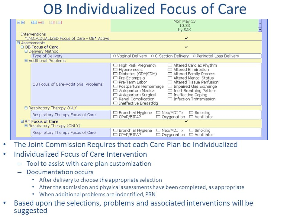 OB Individualized Focus of Care