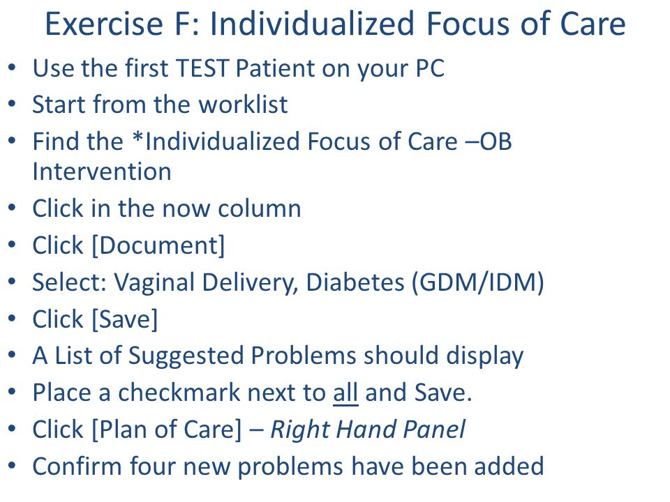 Exercise F: Individualized Focus of Care