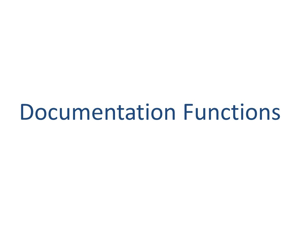 Documentation Functions