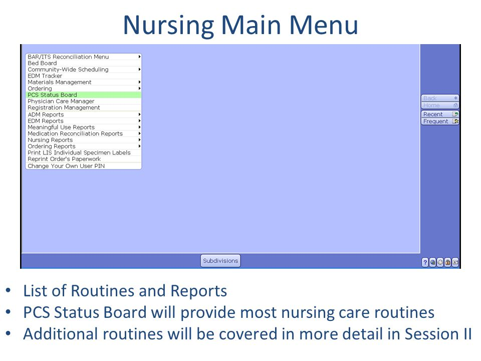 Nursing Main Menu List of Routines and Reports