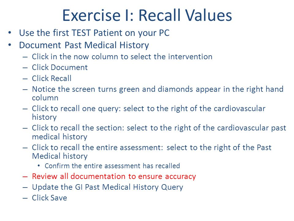 Exercise I: Recall Values
