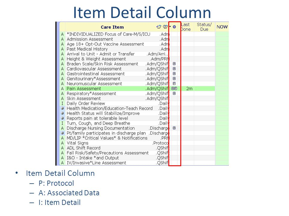 Item Detail Column Item Detail Column P: Protocol A: Associated Data