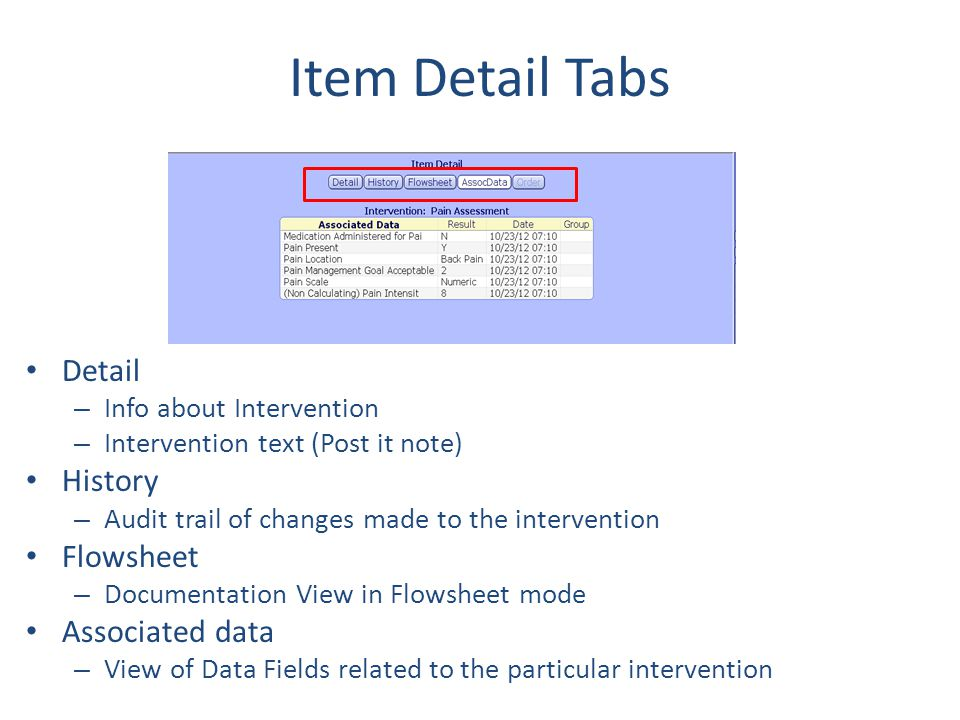 Item Detail Tabs Detail History Flowsheet Associated data