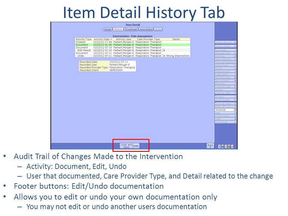 Item Detail History Tab