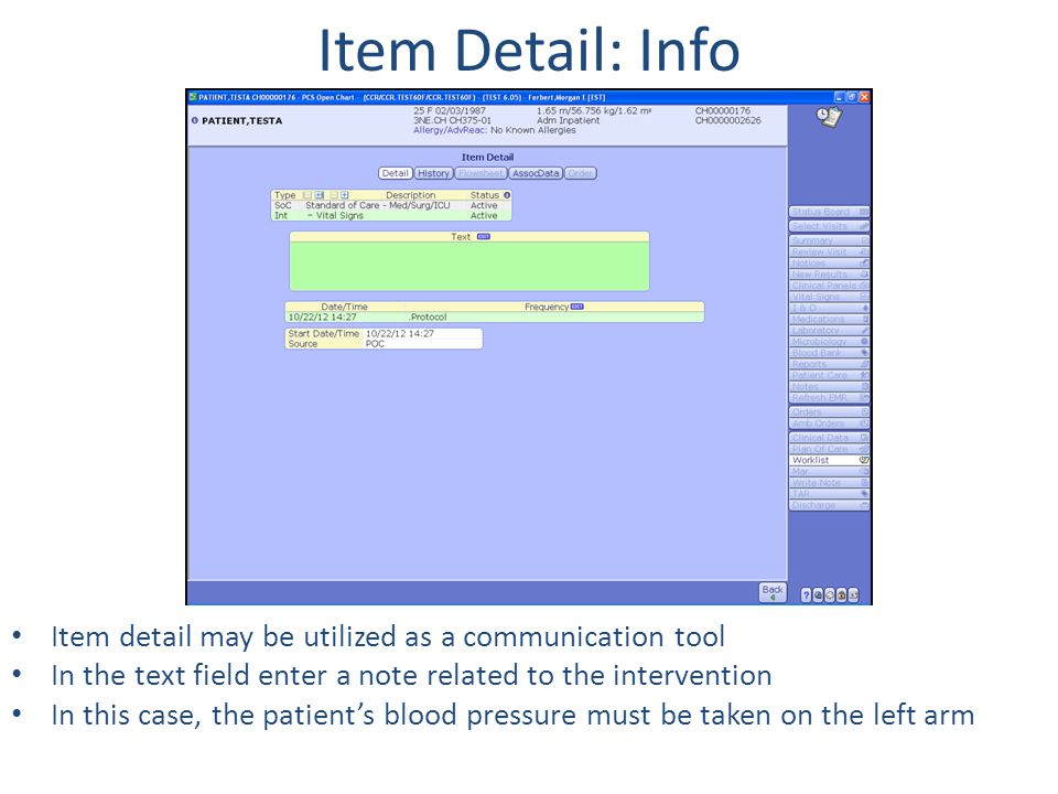 Item Detail: Info Item detail may be utilized as a communication tool