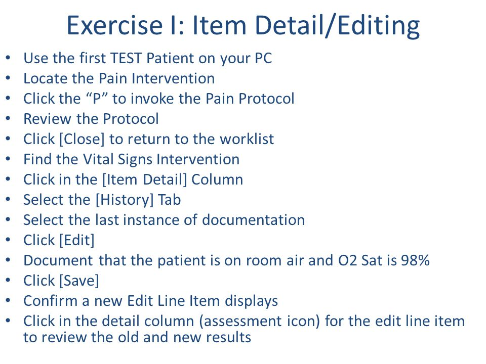 Exercise I: Item Detail/Editing