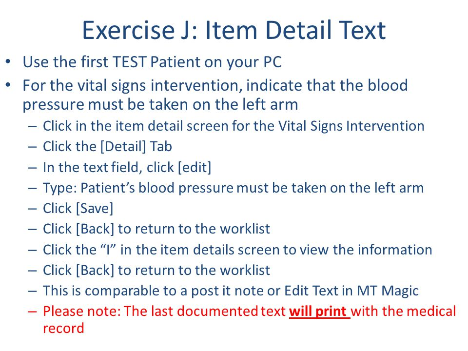 Exercise J: Item Detail Text