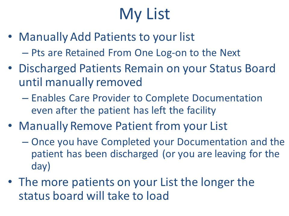 My List Manually Add Patients to your list