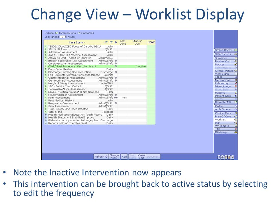 Change View – Worklist Display