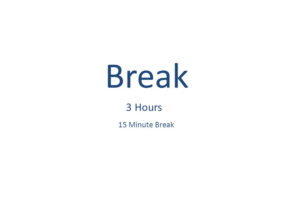 Break 3 Hours 15 Minute Break