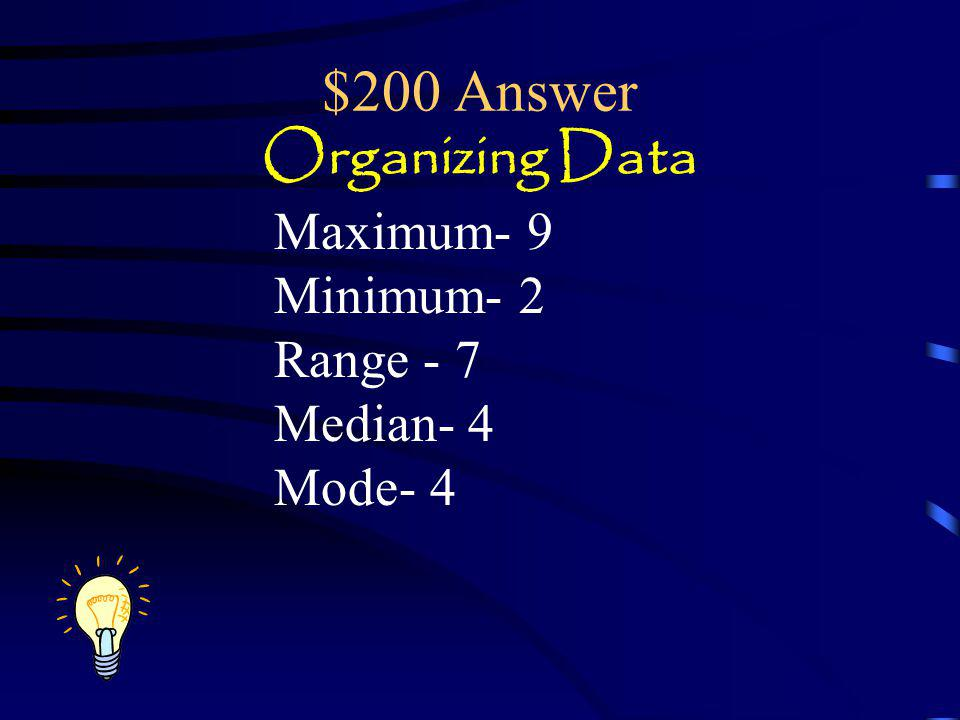 $200 Answer Organizing Data