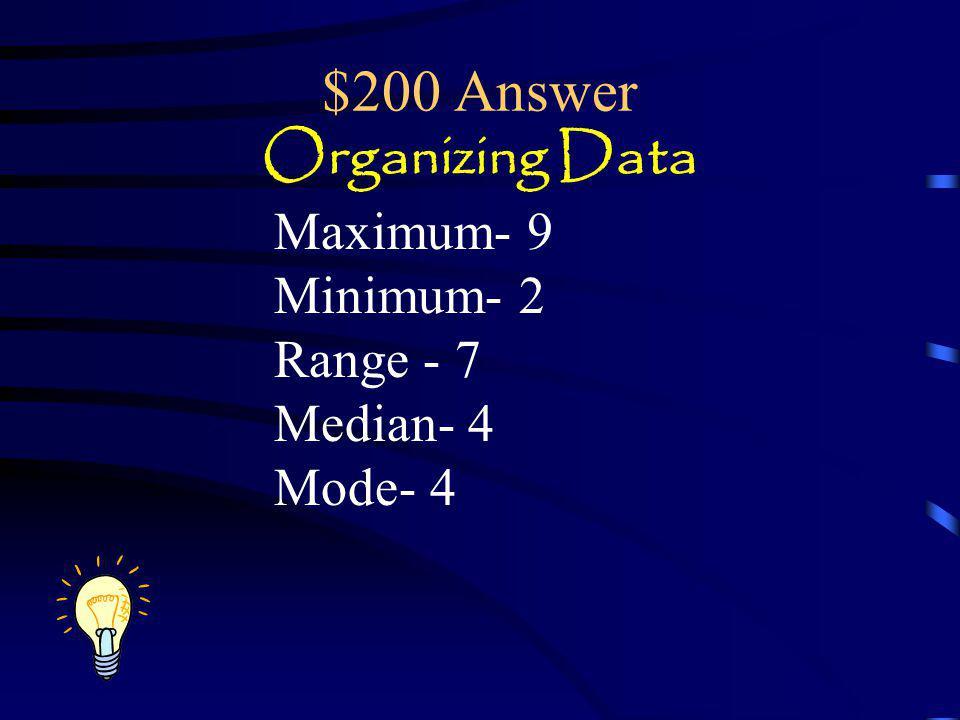 $200 Answer Organizing Data