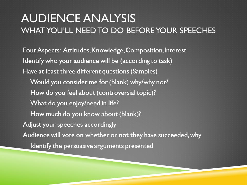Audience Analysis What you'll need to do before your speeches